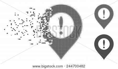 Grey Vector Caution Marker Icon In Fractured, Dotted Halftone And Undamaged Solid Versions. Disappea