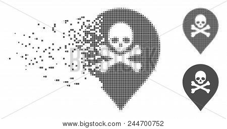 Gray Vector Death Marker Icon In Dissolved, Pixelated Halftone And Undamaged Entire Variants. Disint