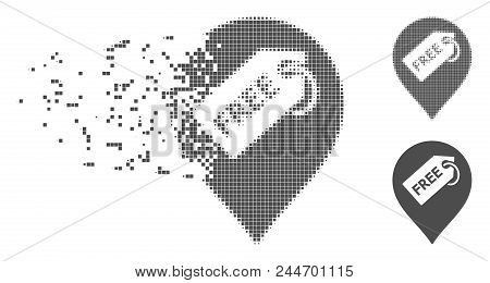 Gray Vector Free Tag Marker Icon In Dissolved, Dotted Halftone And Undamaged Whole Variants. Disinte