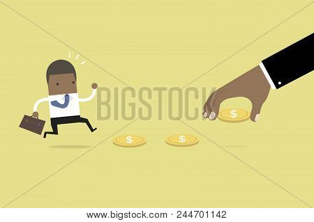 African Business Hand Use Money To Entice Businessman, Bait Or Financial Trap. Vector