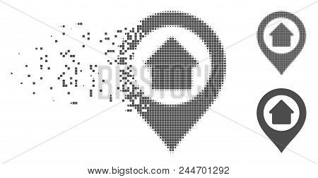 Grey Vector Home Marker Icon In Dispersed, Pixelated Halftone And Undamaged Entire Variants. Disinte