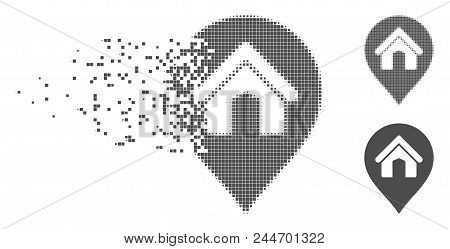 Gray Vector House Marker Icon In Dissolved, Pixelated Halftone And Undamaged Solid Versions. Disappe