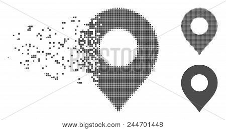 Grey Vector Map Marker Icon In Dispersed, Dotted Halftone And Undamaged Whole Versions. Disappearing