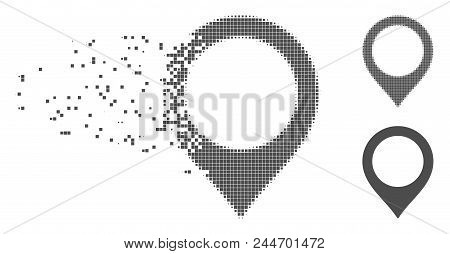 Grey Vector Map Marker Icon In Dissolved, Dotted Halftone And Undamaged Solid Variants. Disappearing