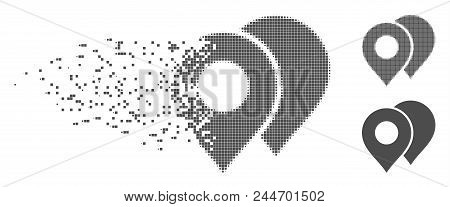 Gray Vector Map Markers Icon In Fractured, Pixelated Halftone And Undamaged Entire Variants. Disappe