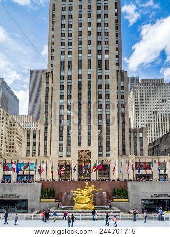 New York, New York - March 30, 2018: Details Of The Rockefeller Center In New York City. The Rockefe
