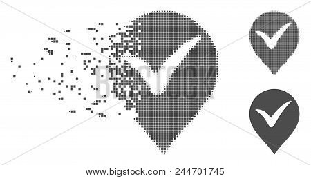 Grey Vector Ok Marker Icon In Fractured, Dotted Halftone And Undamaged Entire Versions. Disappearing