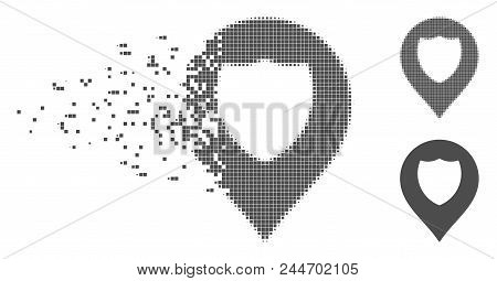 Grey Vector Shield Marker Icon In Fractured, Dotted Halftone And Undamaged Whole Versions. Disintegr