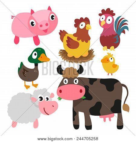 Animals Character Design, Cute Animals Collection, Face Animals Set, Smile Set