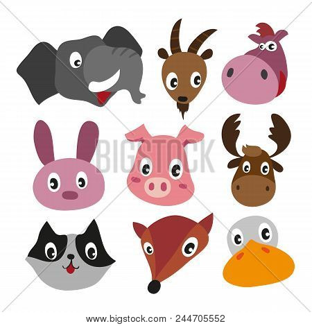 Animals Character Design, Cute Animals Collection, Face Animals Collection