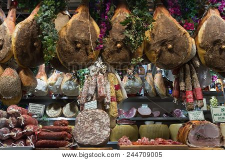 Florence/italy- April 6, 2018: Display With Various Italian Gourmet Meat Products At Famous Mercato