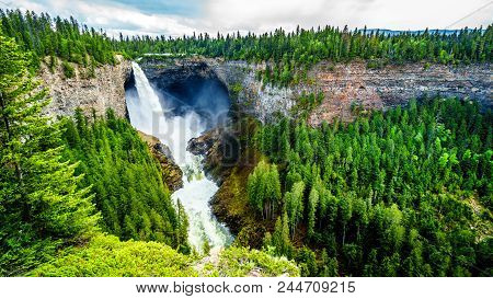Helmcken Falls With The Smaller Lee Falls At The Bottom In Wells Gray Provincial Park British Columb