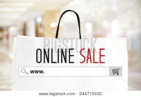 Word Www. On Search Bar And Online Sale Over Shopping Bag And Blur Store Background, Digital Marketi