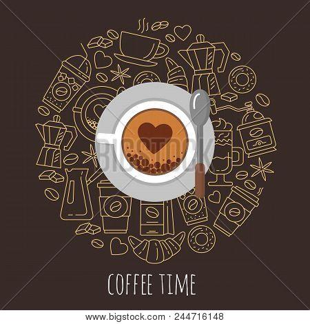 Coffee Time Vector Illustration. Flat Modern Vector For Coffee Shop. Coffee Cup And Coffee Icons Top