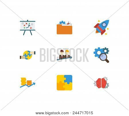 Technology Partnership Icons Set. Successful Partnership And Technology Partnership Icons With Brain
