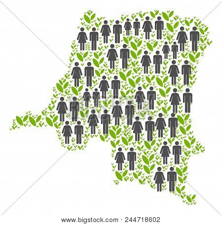People Population And Eco Democratic Republic Of The Congo Map. Vector Abstraction Of Democratic Rep