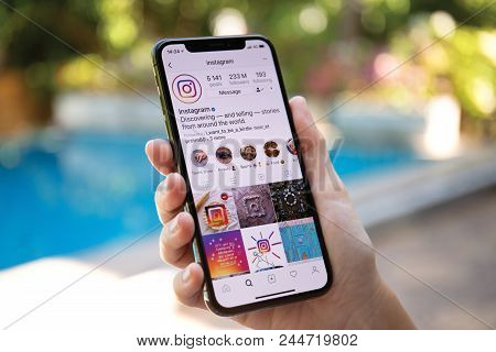Koh Samui, Thailand - March 21, 2018: Woman Hand Holding Iphone X With Social Networking Service Ins