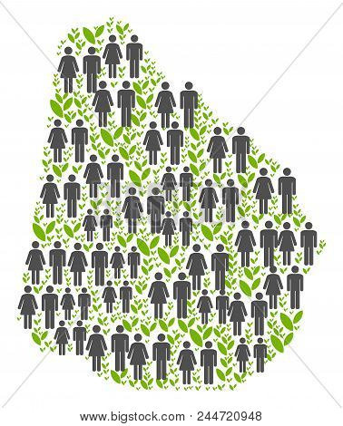 People Population And Eco Uruguay Map. Vector Concept Of Uruguay Map Done Of Random Man And Woman An