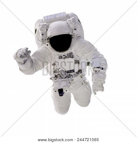 Astronaut In Spacesuit Close Up Isolated On White Background. Spaceman In Outer Space. Elements Of T