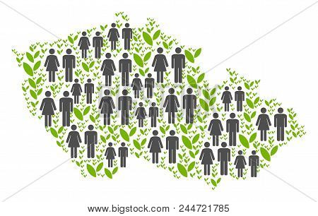 People Population And Flora Plants Czech Map. Vector Abstraction Of Czech Map Done Of Random Lady An