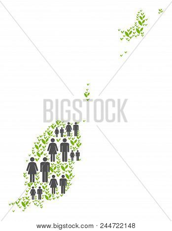 People Population And Green Plants Grenada Map. Vector Pattern Of Grenada Map Designed Of Random Peo