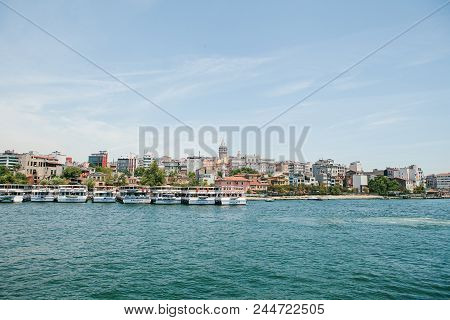 Istanbul, June 17, 2017: Many Passenger Ferries Or Passenger Boats Are Off The Coast. Transportation