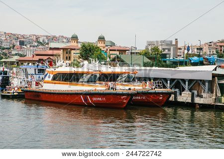 Istanbul, June 17, 2017: Passenger Ferry Or Passenger Boat Is At The Shore. Transportation Of Passen