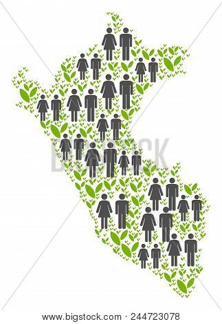 People Population And Eco Peru Map. Vector Collage Of Peru Map Designed Of Randomized Person And Spr