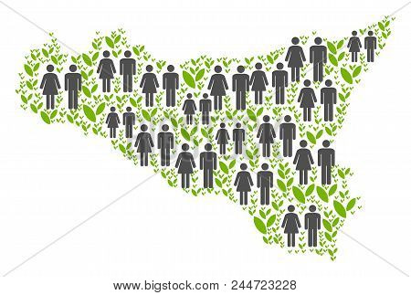 People Population And Green Plants Sicilia Map. Vector Mosaic Of Sicilia Map Organized Of Random Hum