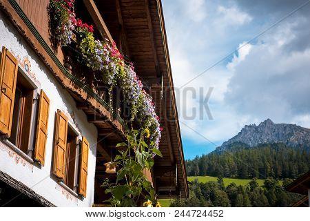 Summer Village In Val Gardena South Tirol, Dolomites Mountains, Italy