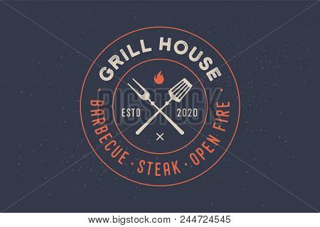 Logo For Grill House Restaurant With Grill Fork, Text Typographic Grill House, Barbecue, Steak, Open