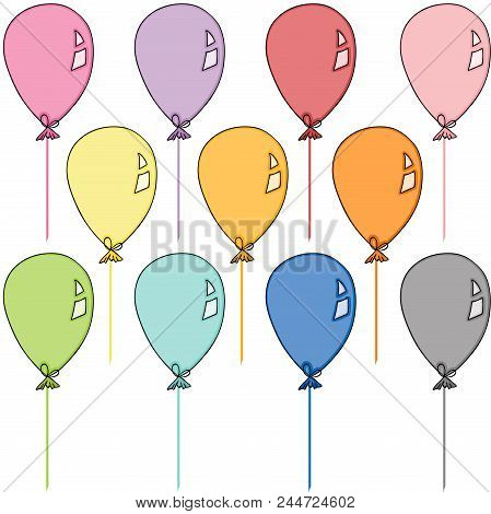 Scalable Vectorial Representing A Colored Balloons Set, Element For Design, Illustration Isolated On