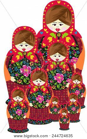 Scalable Vectorial Representing A Traditional Russian Matryoshka Doll Family, Element For Design, Il