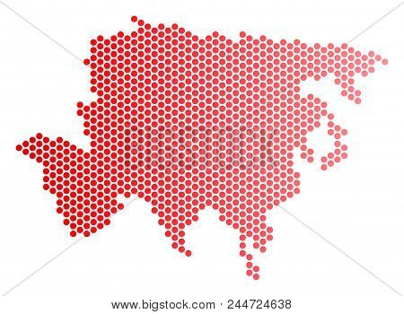 Red Dotted Asia Map. Geographic Scheme In Red Color With Horizontal Gradient. Vector Collage Of Asia
