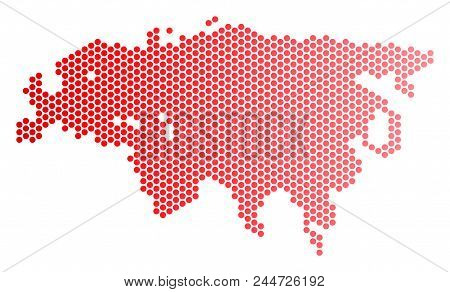 Red Dotted Europe And Asia Map. Geographic Scheme In Red Color With Horizontal Gradient. Vector Comp