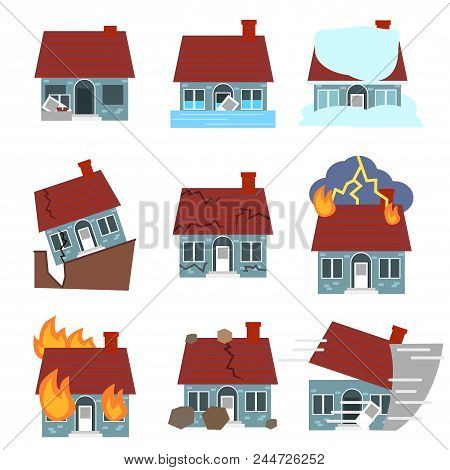 Cartoon Building Disasters Destruction Icon Set Include Of Fire, Earthquake, Hurricane And Flood Fla