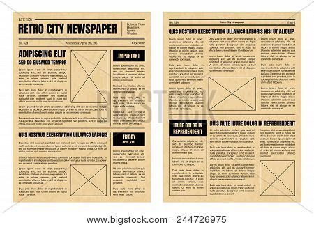 Vintage Daily Newspaper Template Sheets Set Old Style Design Include Of Text, Column, Article And Ad