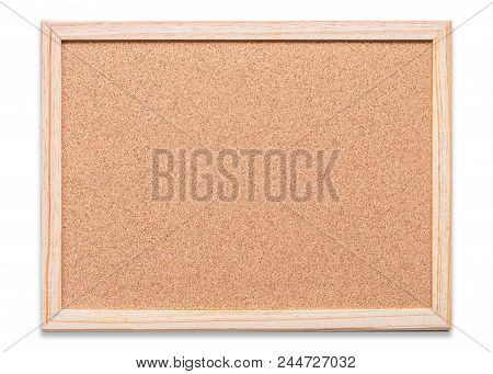 Blank Cork Board With Corkboard Texture Background With Wooden Frame Hanging On White Wood Wall (iso