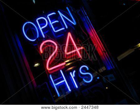 Neon 'Open 24 Hours' Sign