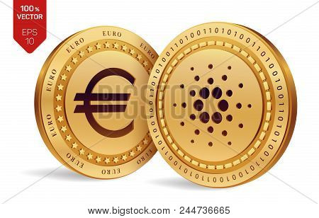 Cardano. Euro Coin. 3d Isometric Physical Coins. Digital Currency. Cryptocurrency. Golden Coins With
