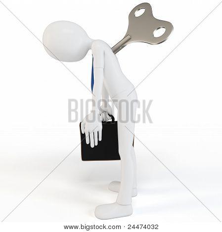 3D Man Windup Businessman