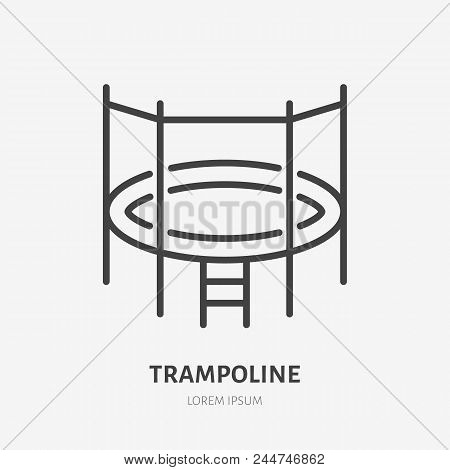 Flat Line Icon Of Trampoline With Net. Trampolining Sign. Thin Linear Logo For Amusement Park.