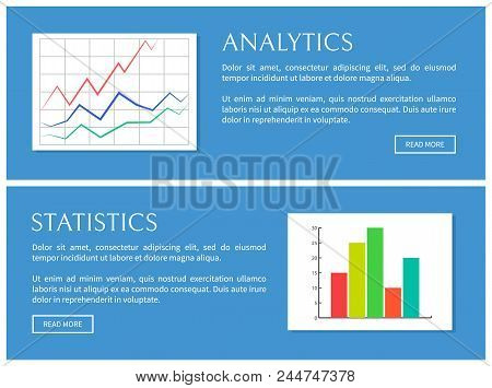 Analytics And Statistics Card, Vector Illustration Isolated On Blue Backdrop, Text Sample, Push Butt