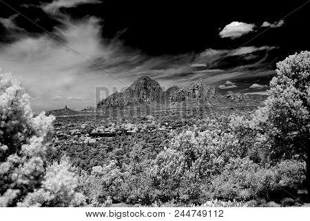 Infrared Black And White Country Mountains Surrounding Sedona Arizona