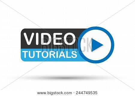 Video Tutorial Icon On White Background. Vector Stock Illustration.