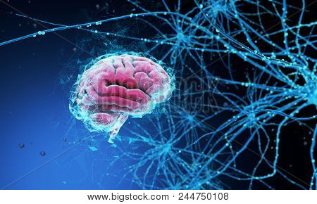 3d Model Of The Human Brain On Dark Background Surrounded By Neural Networks. 3d Render. 3d Illustra