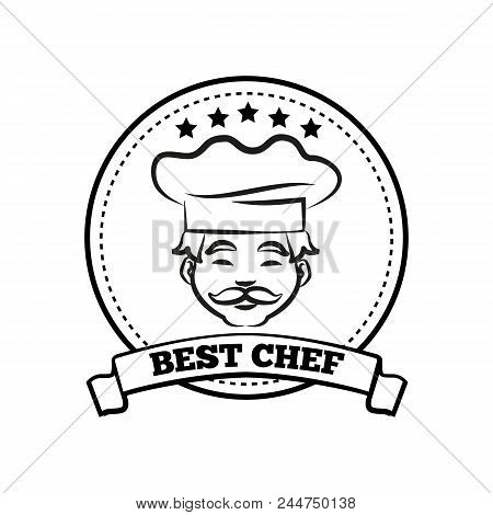 Best chef poster sketch, title text placed in ribbon, colorless image of chef wearing traditional hat vector illustration isolated on white background poster