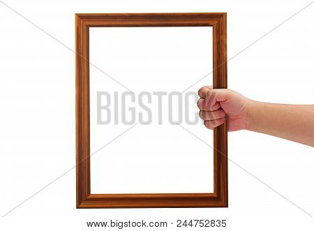Isolate Hand Holding Wooden Frame On White Background, Announcement Concept