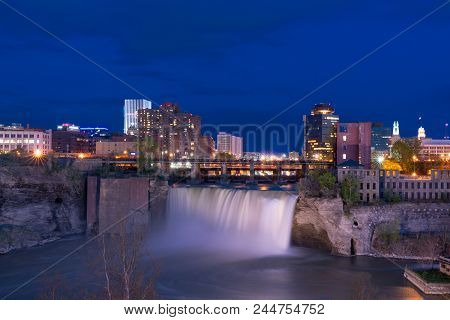 Rochester, Ny - May 14, 2018: Skyline Of Rochester, New York At The High Falls Along The Genesee Riv