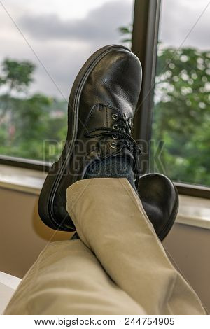 Feet Up At The Office Looking Out The Window 2